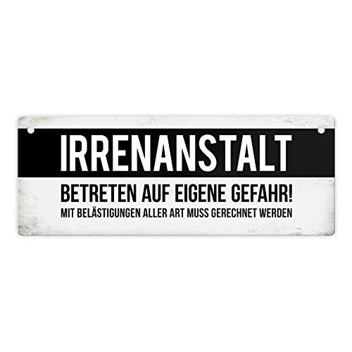 trendaffe - Klinik Metallschild mit Warnhinweis & Spruch: Irrenanstalt Warnung Psychiatrie