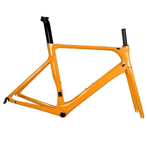 Vollcarbon Rennrad Rahmen DI2 und Carbon Rennrad Maschinen BB86 50.5/53/56 cm 2 Jahre Garantie (Orange),55cm