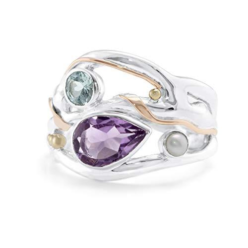 Banyan Jewellery - Anello da donna in argento Sterling 925 con ametista, topazio blu e perla d'acqua dolce e Argento, 56 (17.8), colore: viola, blu, bianco., cod. Ri0981