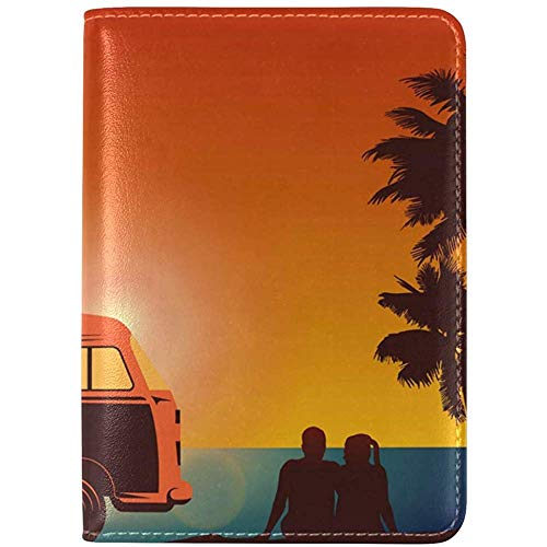 Surfer Couple with VW Style Van Genuine Leather UAS Passport Holder Cover Travel Case