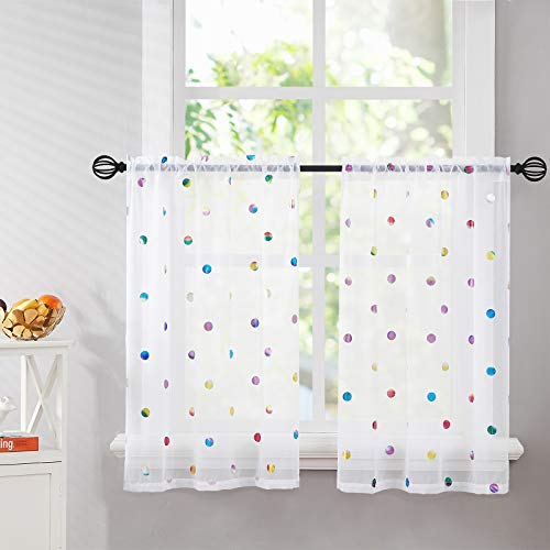 """Kitchen Tier Curtains White 24 inches Length Sparkle Metallic Polka-Dot Printed Semi Sheer Voile Window Drapes Light Filtering Small Café Curtain Set for Bathroom Basement, 28""""w 2 Panels Rod Pocket"""