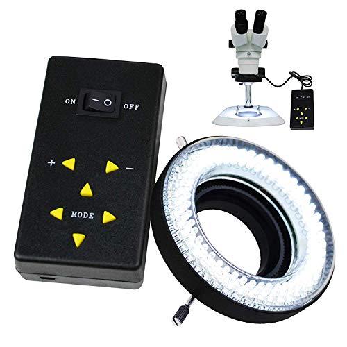 144 Makro-LED-Ringblitz und Ringlicht 4-Zone Ring Licht Mikroskop Kamera Foto Video 198mm Aussen 61mm Inner 20000Lux 6400K Foto Lampe Ring Leuchtstoff Blitzlicht Ringblitzleuchte