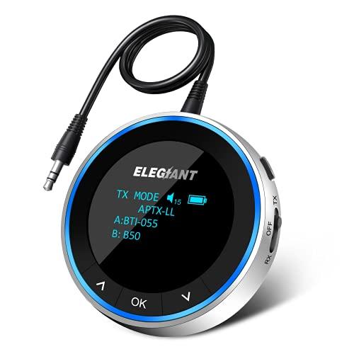ELEGIANT Bluetooth Adapter Audio 5.1 Bluetooth Transmitter Empfänger 2 in 1 Sender Receiver Low Latency mit OLED-Anzeige für TV Stereoanlage Kopfhörer Lautsprecher Laptop RCA/3,5 mm AUX Kabel