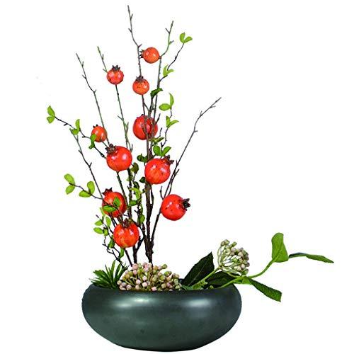 WENMENG2021 Kunstblumen Künstliche Obst Bonsai verwendet for Hochzeit Startseite Gefälschte grüne Topfpflanzen Blumen Kreative Gefälschte Blumen Bonsai (Granatapfel) Künstliche Blumensträuße