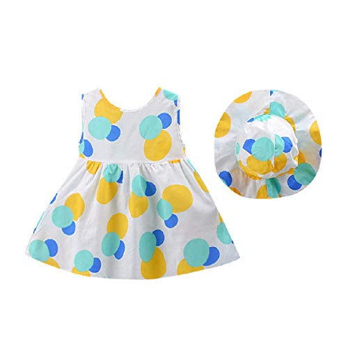 Julhold Verano Niño Bebé Niña Leisure Dot Impreso Lazo Princesa Vestido de algodón + Sombrero Conjunto Ropa 2019 0-3 Años