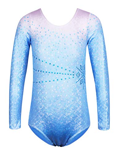 HUAANIUE Flickor Långärmad gymnastikdräkt Blå diamantklänning Balettdräkt Dans Sportkläder Atletisk trikådräkt Kostym Danskläder