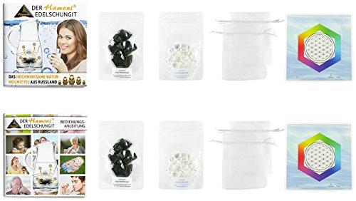 Hamoni® Wasserset Plus: Thermisch Aktivierter Edelschungit für selbstgemachtes Edelschungit-Wasser. Hochwirksamer Wasserfilter und Russisches Naturheilmittel.