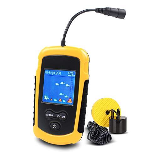 JNTM Portable Fish Finder, Portátil Sonar Buscador de Pesca, Buscadores de Pescado Alarma, con Transductor De Sonda Y Pantalla LCD para Kayaks Y Pesca En El Hielo