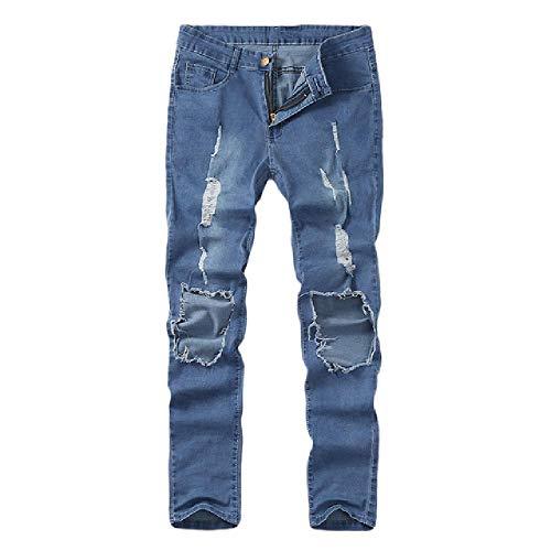 nobrand Herren Jeanshose Jeans Hosen Herren Zipper Fly Pencil Pant Male Skinny Stretch Distressed Ripped Freyed Slim Fit Gr. 58, blau