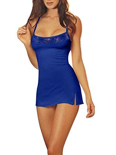ZANZEA Lingerie Sexy Donna Taglie Forti Babydoll Lingerie Pizzo Mesh Camicie da Notte Abito Mini+ Perizoma 02-Blu Reale S
