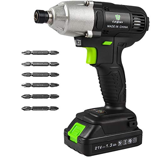 Letton Power Impact Driver Kit 21V Lithium Ion1/4quot Allmetal Hex Chuck02800RPM Variable Speed 13 Ah Battery and Charger Included 320Nm/2832 inlbs with 6 Piece Drive Bits