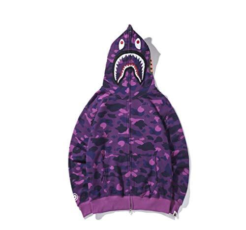 Sweatshirt-Jacke mit Kapuze mit Hai- und Camouflage-Print, Baumwolle, lockere Passform, Reißverschluss, Hip Hop-Hoodie-Hacke für Damen und Herren, violett, Medium