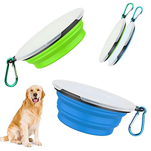 Hundenäpfe Faltbare Reiseschale 2 Stück fütternde Hundenäpfe mit Deckel und Haken ,Auslaufsichere Hundenapf Tragbare Silikon Trinkschale für Katzen,Hunde Wanderungen and Camping (Green&Blue)