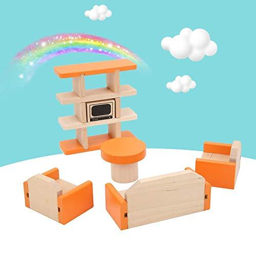 Labuduo Giocattolo per mobili Fai-da-Te, Superficie Verniciata a Base d'Acqua 3D Giocattolo per mobili Fai-da-Te per Bambini, Casa delle Bambole Fai-da-Te(Medium Small Furniture (Living Room))
