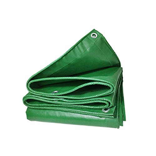 Tarpaulin Waterproof Heavy Duty Tarp Sheet Cover with Eyelets for Garden Furniture, Hutch, Trampoline, Wood, Car, Camping or Gardening 450g/m², Green (5x8m)
