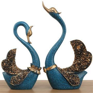 MASUNN paar zwanen ornament huis decoraties woonkamer tv-kast accessoires bruiloft geschenken, Blauw, 1