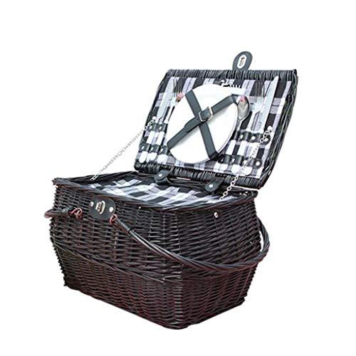 Cesta de picnic impermeable Willow para acampar Set de canasta de picnic para 2 personas con kit de servicio de cubiertos clásicos, Picnic de mimbre para acampar, al aire libre, día de San Valentín Al