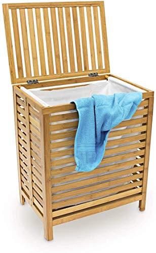 uyoyous Wäschekorb aus Bambus, Zusammenklappbar Bambus Aufbewahrungskorb der Schmutzigen Kleidung Groß mit Aufbewahrungstasche, ca. 48 x 38 x 66 cm(LxBxH)