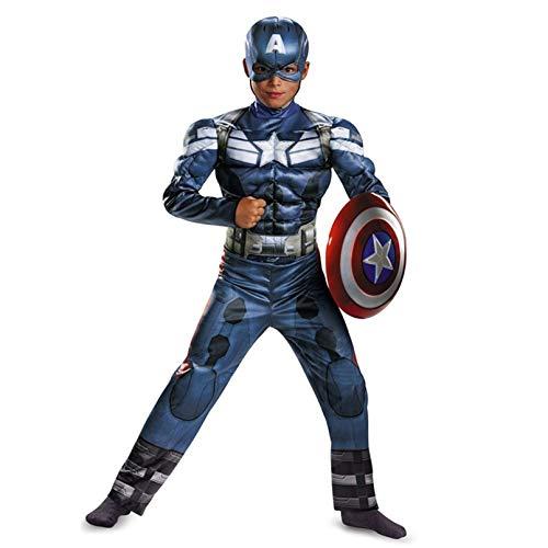 LINLIN Capitn Amrica Cosplay Traje nios superhroe Muscle Body Sets con Casco Halloween Mascarada Fancy Dress Ropa Boys,Blue- Kid M 120~130cm
