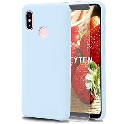 Feyten Funda Xiaomi Mi 8 [Cristal Vidrio Templado], Slim Líquido de Silicona Gel Carcasa Anti-Rasguño Protectora Caso para Xiaomi Mi 8 (Azul Claro)