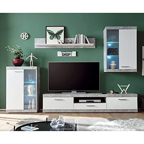 Homely - Mueble de salón Modular EsCanar Color Gris Cemento y Blanco de 245 cm