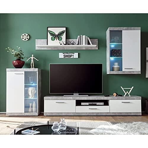 Homely - Mueble de salón Modular EsCanar Color Gris Cemento y Blanco de 245 cm