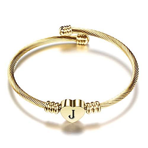 AMTBBK Bracelets for Women, Heart A-Z Letter Charm Bangle Stainless Steel Adjustable Open Cuff Bracelet,J