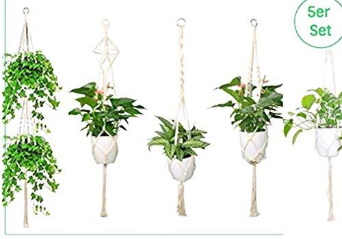 Huma 5er Set Makramee Blumenampel Baumwollseil Hängeampel Blumentopf Pflanzen Halter Aufhänger für Innen Außen Decken Balkone Wanddekoration für Balkone Terrasse Wanddekoration Boho Deko