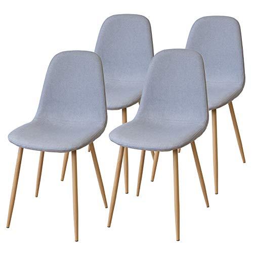 Albatros FANO Set de 4 Retro sillas de Comedor Gris, SGS Probado