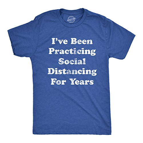 Mens I've Been Social Distancing for Years Tshirt Funny Introvert Virus Tee (Heather Royal) - XL