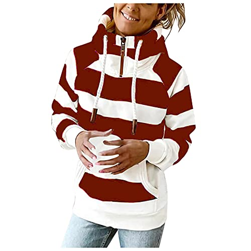 Women Casual Long Sleeve Zipper Sweatshirt Striped Color Block Oversized Hoodies Cute Hooded Pullover With Pockets