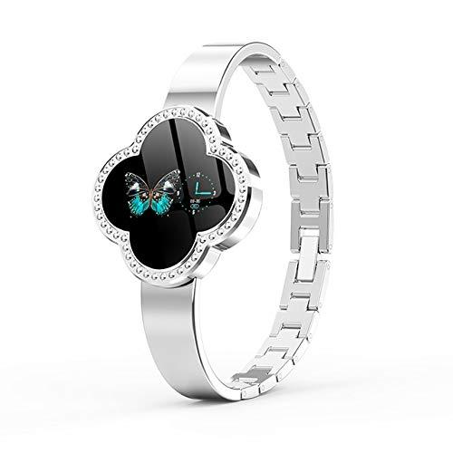 CWGWNXGY Fashion Smart Fitness Armband Dames Bloeddruk Hartslag Monitoring Polsband Dames Horloge Gift, A, ZILVER