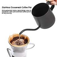 滑らかな表面のステンレス鋼の小さなコーヒーポット、安全なグースネックコーヒーポット、ホームカフェ用(black)