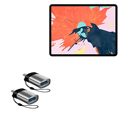 BoxWave Cable for Apple iPad Pro 11' (1st Gen 2018) [USB Type-C PortChanger (2-Pack)] USB Type-C OTG USB Portable Keychain for Apple iPad Pro 11' (1st Gen 2018) - Slate Grey
