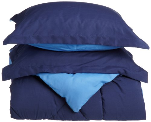Cathay Home Fashions Silky Soft 3-Piece Microfiber Full/Queen Reversible Comforter Set, Navy/Regatta