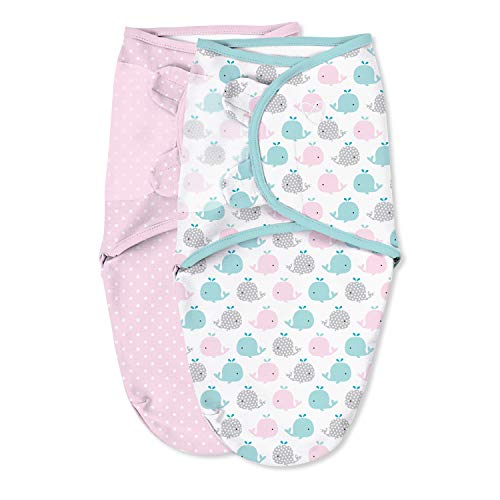 SwaddleMe Original Swaddle – Size Small, 0-3 Months, 2-Pack (Pink Polka Whale)
