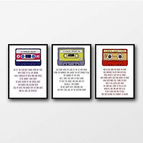 Set of 3 Led Zeppelin Lyrics - Unframed Prints - Unframed Tipografía Impresiones