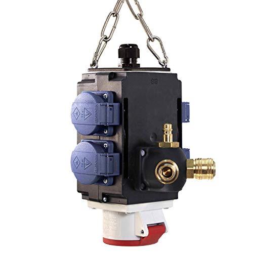 as - Schwabe MIXO Energiewürfel II+ – Hänge-Verteiler mit 4 Schuko-Steckdosen 230 V, 16 A & 1 CEE-Steckdose 400 V, 16 A, 5-polig & Druckluftanschluss – IP44 – Made in Germany – Schwarz I 60734