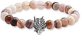 Stone Beads with Fox Unisex Charm Bracelet…