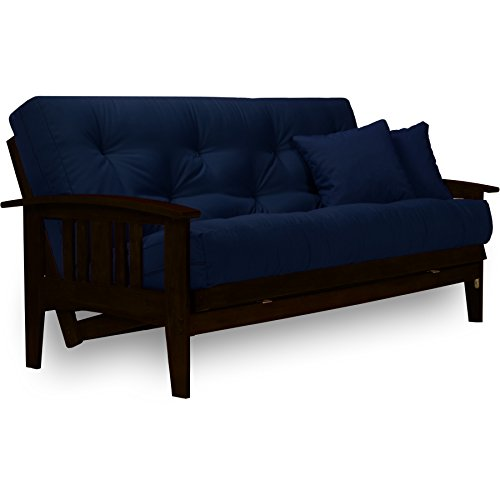 Westfield Complete Futon Set - Espresso Finish (Warm Black) – Large Queen Size, Mission Style Wood Futon Frame with Mattress Included (Twill Navy Blue), More Mattress Colors Available