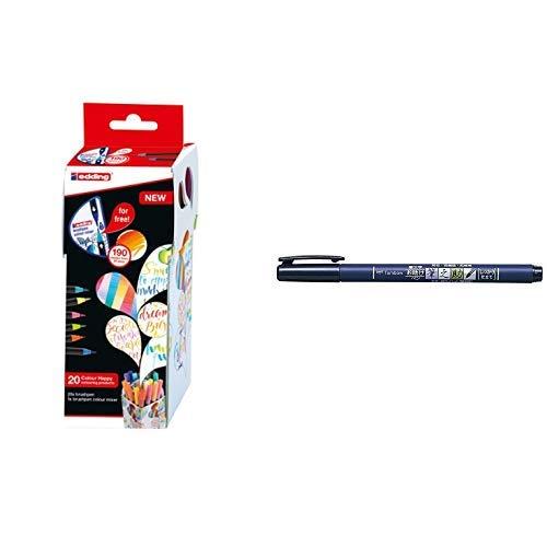edding Set mit 21 Teilen (20 Pinselstifte edding 1340 mit Farbmixer) - Colour Happy Set S20+1 - Ideal zum Zeichnen & Tombow WS-BH Brush Pen Fudenosuke, harte Spitze, schreibfarbe schwarz