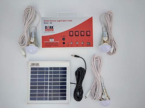 DARK FIGHT Vicco Solar Home Light Set 6 Volt (White, 3 Watt Panel)