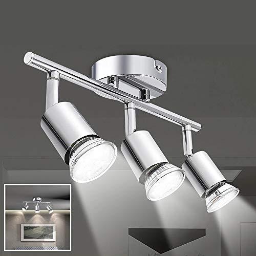 Osairous Lámpara de Techo LED, Luz de Techo de Cúpula de Varilla Múltiple de 3 Cabezales, Foco Giratorio Para Cocina, Dormitorios, Salón, Que Incluye 3 Bombillas GU10 de 4 W