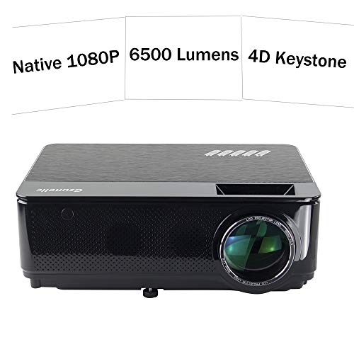 Gzunelic 6500 lumens Native 1080p LED Video Projector ± 50° 4D Keystone X / Y Zoom 8000:1 Contrast Built in HI-FI Stereo Sound Box Full HD Home Theater Proyector