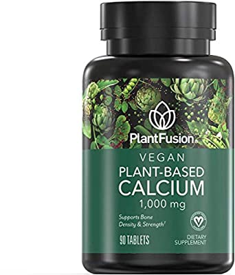 PlantFusion Calcium Vegan Vitamin 1,000 mg | Supports Bone Density and Strength with Mineralized Red Algae, Plant Based, Gluten and Soy Free, Dietary Supplement, 1 Month Supply, 90 Tablets