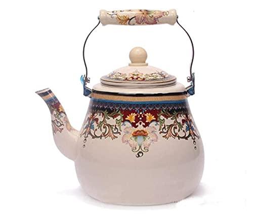 Tetera esmaltada Hervidor de caldera 5l Pote de pera Handle de cerámica Hervidor de olla Pote Cafetera Pote Taza de té (Color : Beige, Size : 5L)