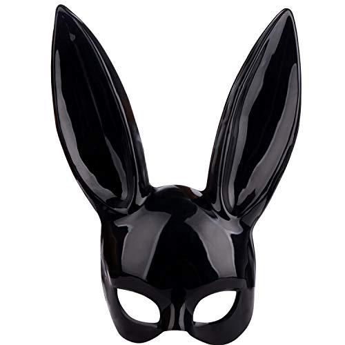 Maschera da coniglio in maschera nera per adulti, con orecchie, per Halloween, feste di compleanno, cosplay, ballo, Pasqua, accessorio per feste