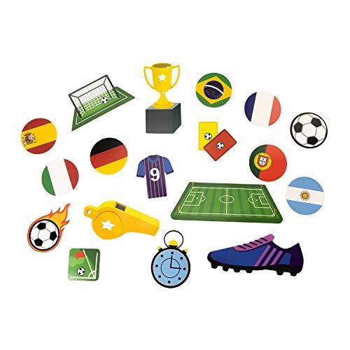 Oblique Unique® 18x Konfetti mit Fußball Motiven Spielfeld Pokal Länder Trikot Tor für Kinder Geburtstag Junge Jungs WM EM Motto Party Tisch Deko Streudeko