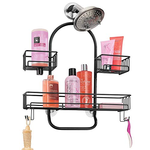 mDesign Metal Wire Tub amp Shower Caddy Hanging Storage Organizer Center with Builtin Hooks and Baskets on 2 Levels for Shampoo Body Wash Loofahs  Rust Resistant  Black