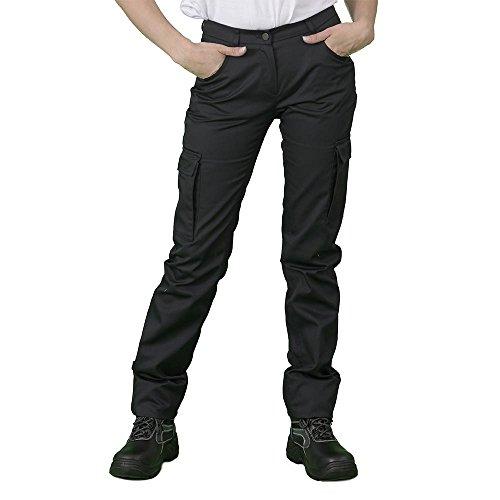 Label Blouse Pantalon de Travail Femme Coupe Jeans 5 Poches + Deux Poches cotés. Couture renforcée Braguette Zip Métal Couleur Noir Rabat Noir T48